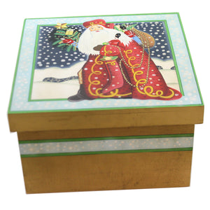 Christmas WINTER SANTA W/TREE LIDDED BOX Wood Snowfall Bag Of Gifts 87658