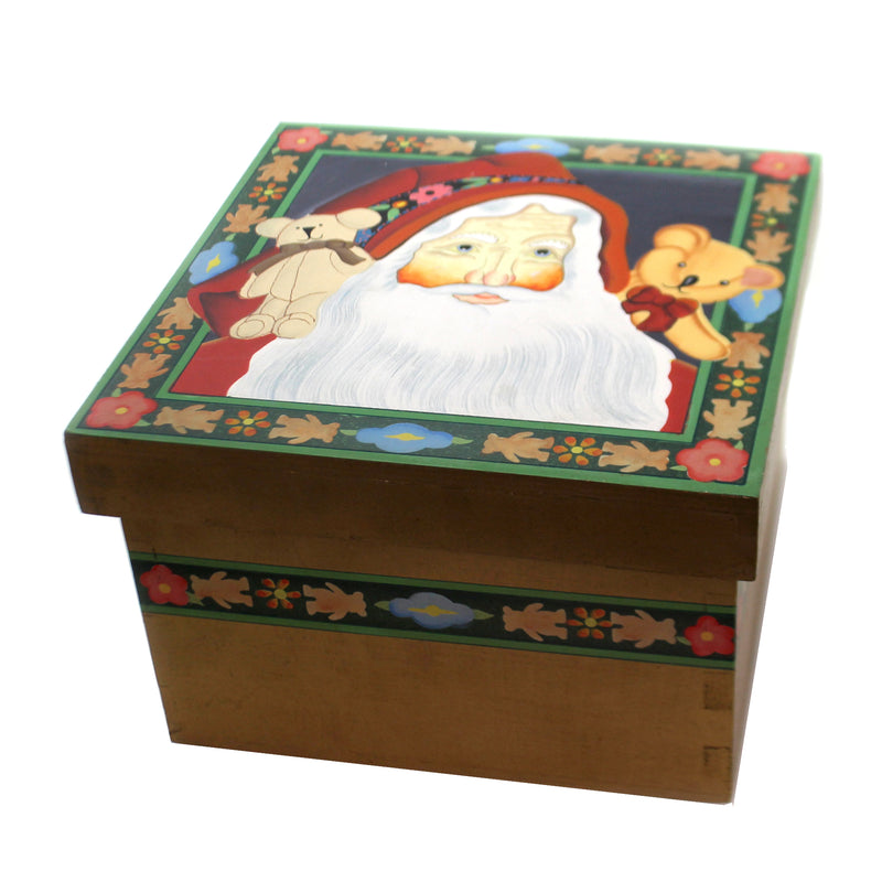 Christmas SANTA w/ TEDDY BEARS LIDDED BOX Wood Storage Claus 87657