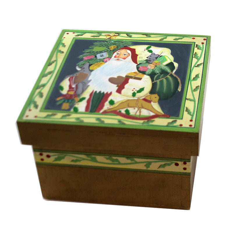 Christmas SANTA w/ HORSE LIDDED BOX Wood Storage Tree Presents 87656