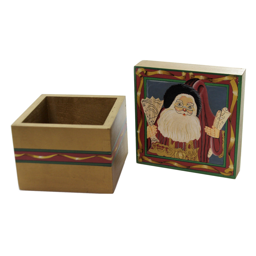 Christmas SANTA w/ DELIVERY MAP LIDDED BOX Wood Storage Container 87655