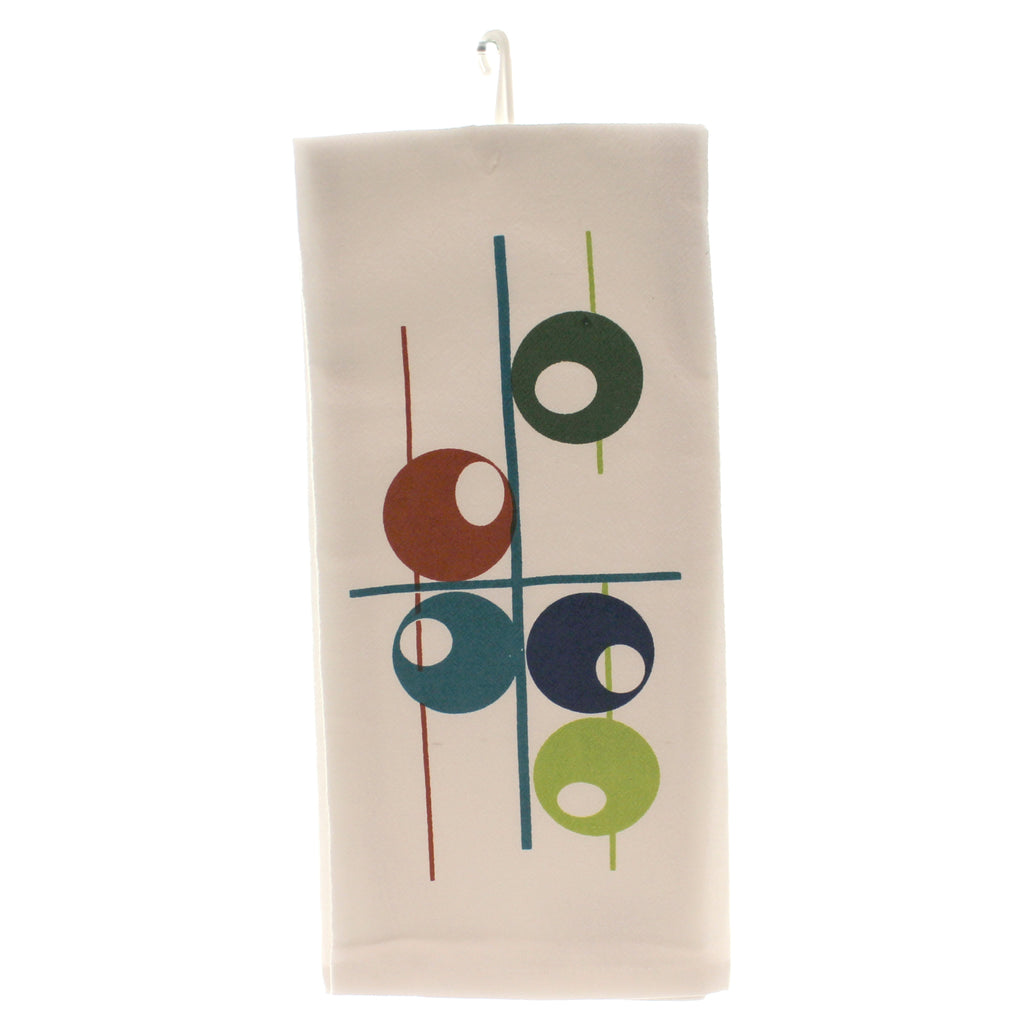 Tabletop ATOMIC CIRCLE KITCHEN TOWEL Fabric Mcm Flour Sack 100% Cotton Mc02