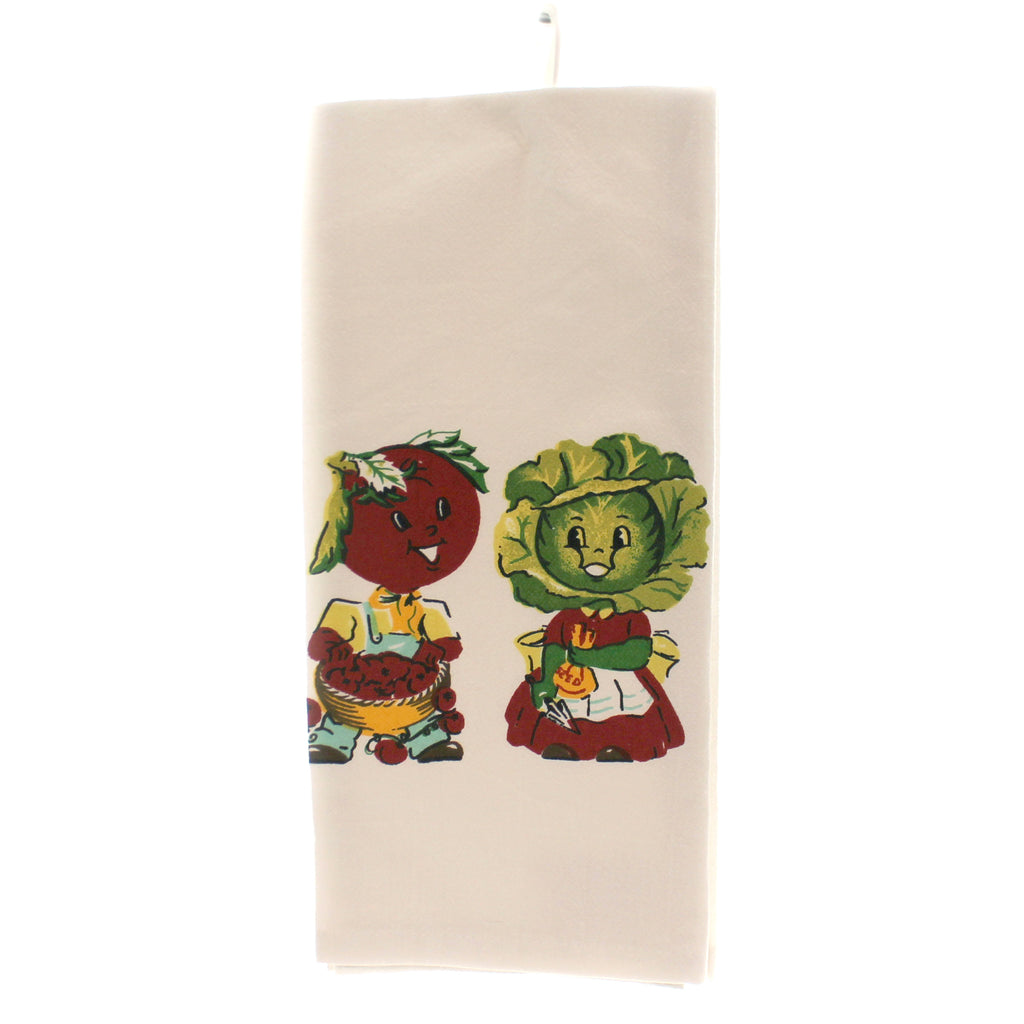Tabletop MR  MRS VEGETABLE KITCHEN TOWEL Vintage Flour Sack 100% Cotton Vl01