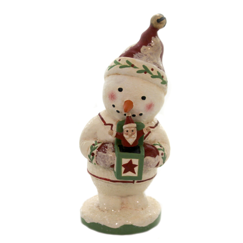 Christmas SNOWMAN W/SANTA JACK IN BOX Polyresin Holiday Gg5565