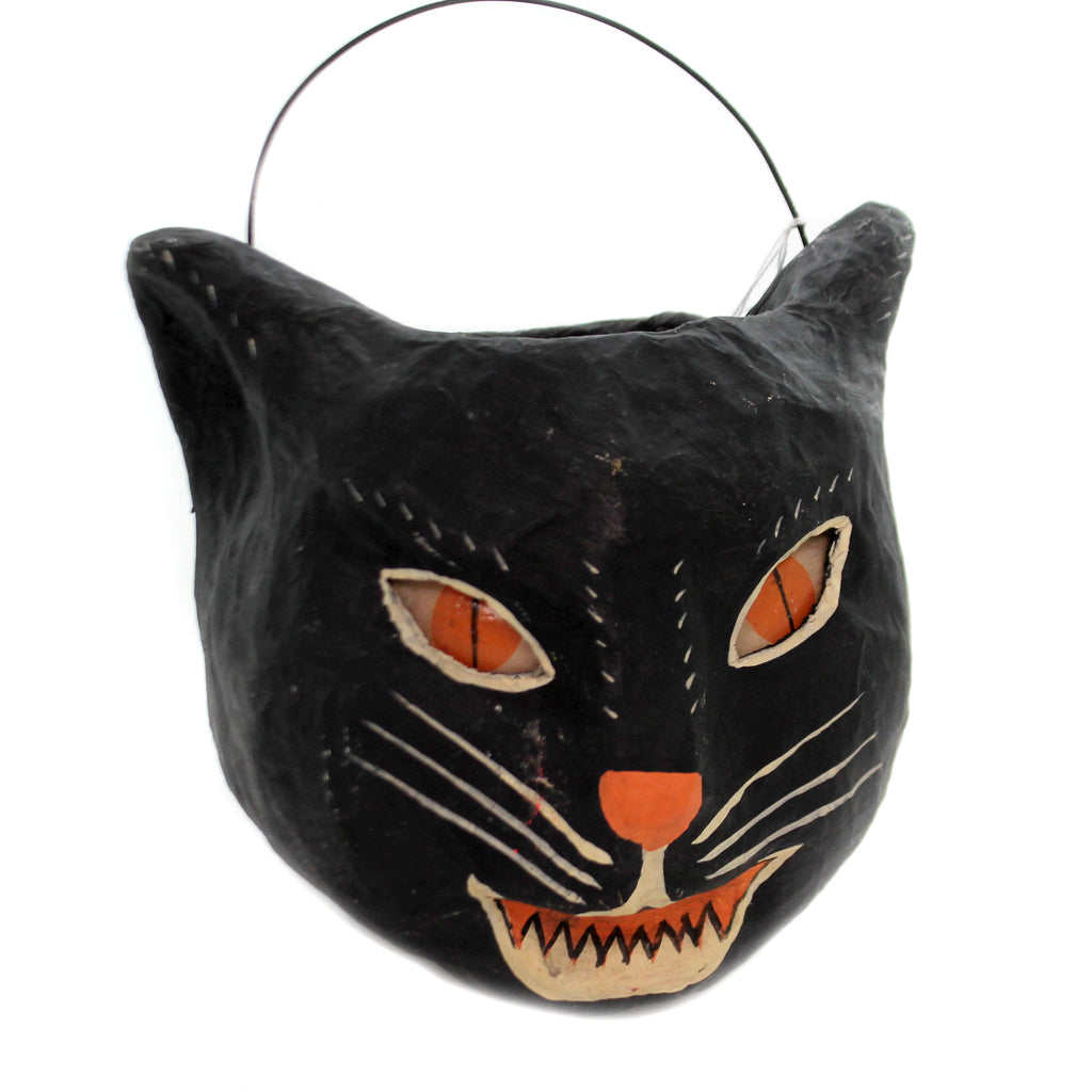 Halloween SINISTER CAT CANDY BUCKET Paper Mache Black Evil Vintage Retro Pm765