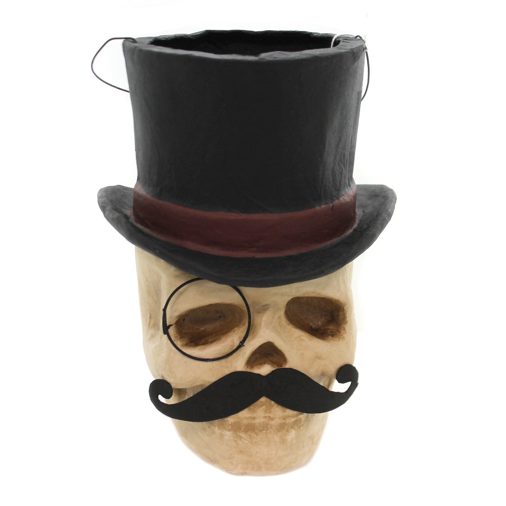 Halloween TOP HAT SKULL CANDY BUCKET Paper Mache Moustache Vintage Retro Pa041