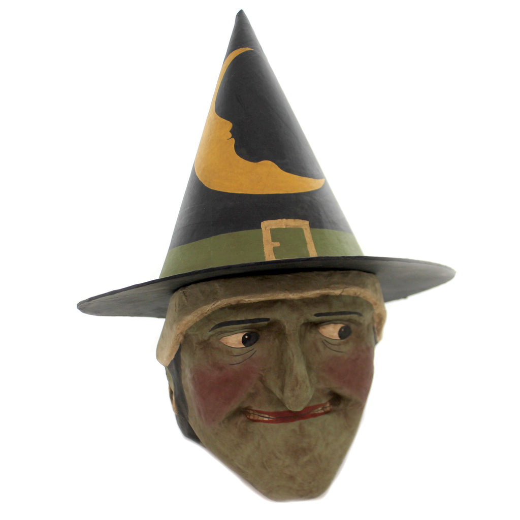 Halloween NIGHT FALL WITCH CANDY BUCKET Vintage Retro Noom Green Face Mt0013