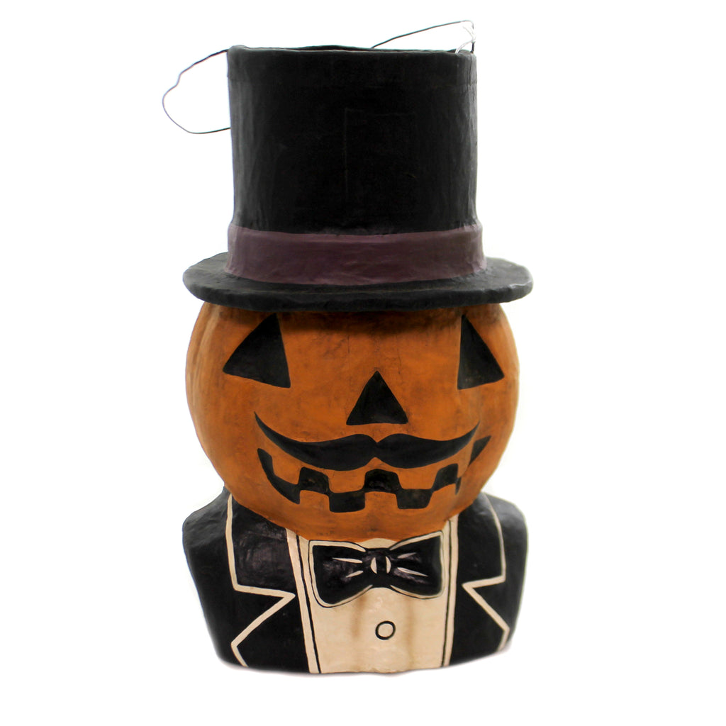 Halloween JACK DANDY CANDY BUCKET Paper Mache Retro Vintage Jol Pumpkin Ms1015