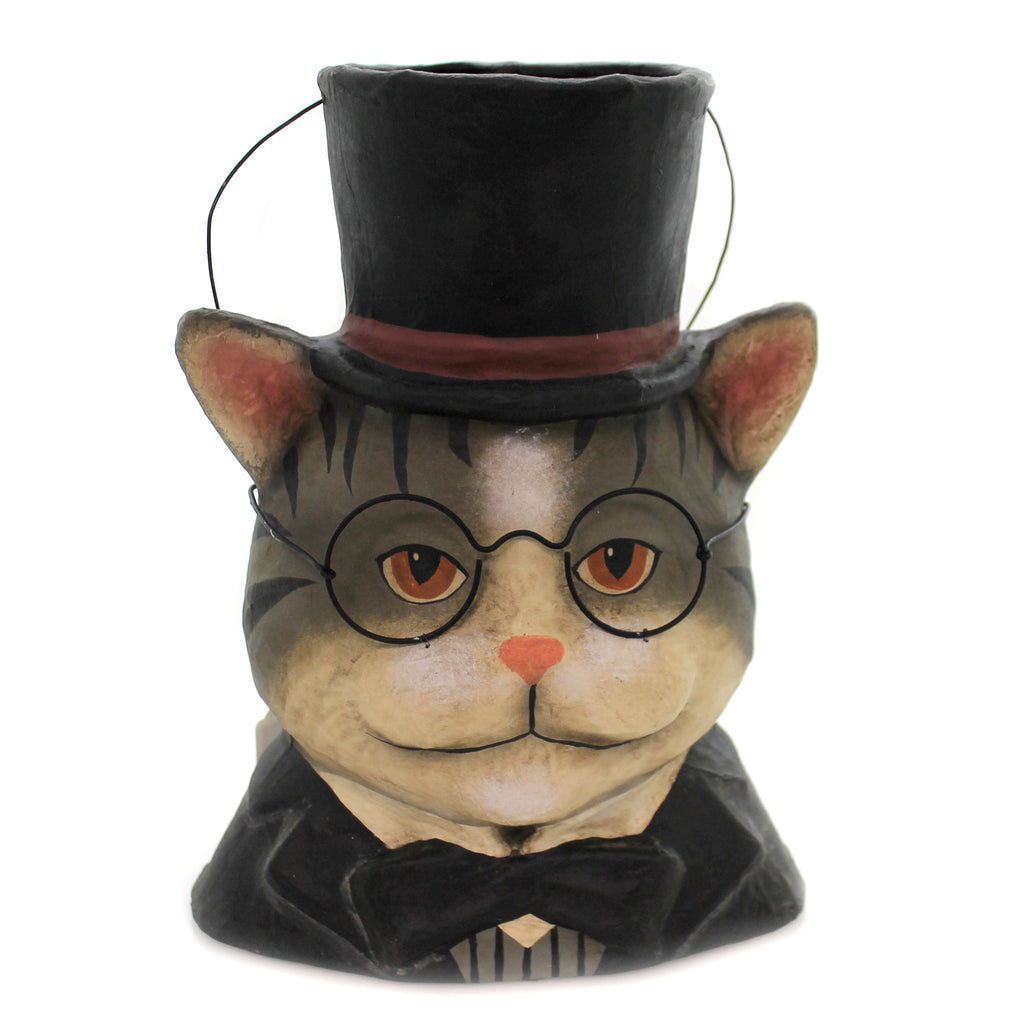 Halloween CURIOUS DANDY CAT CANDY BUCKET Paper Mache Ms1019