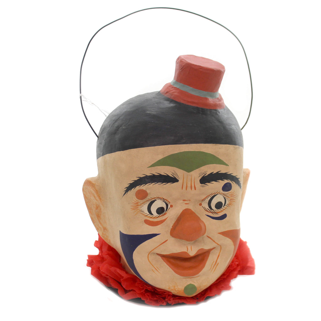 Halloween FRIGHTFUL CLOWN Paper Mache Retro Vinatge Circus Scary Pa767