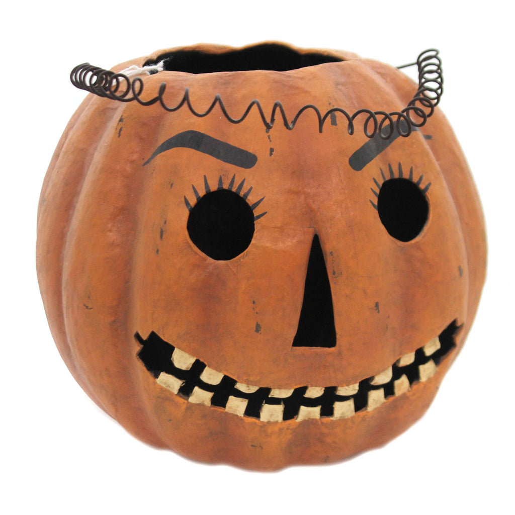 Halloween MR JACK CANDY BUCKET Paper Mache Retro Vintage  Jol Pumpkin Pm684