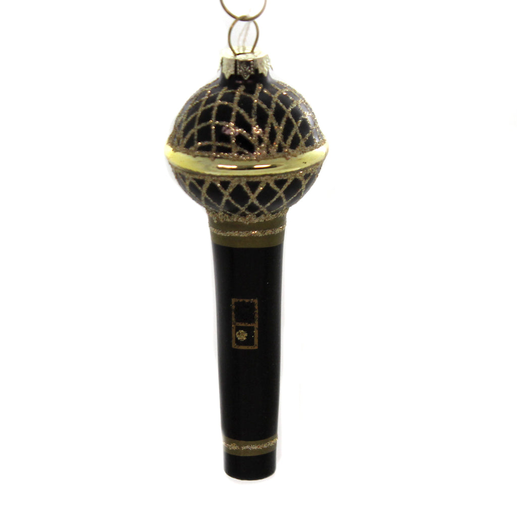 Holiday Ornaments FANCY MICROPHONE Glass DJ Music Singer Song Karaoke Go3116
