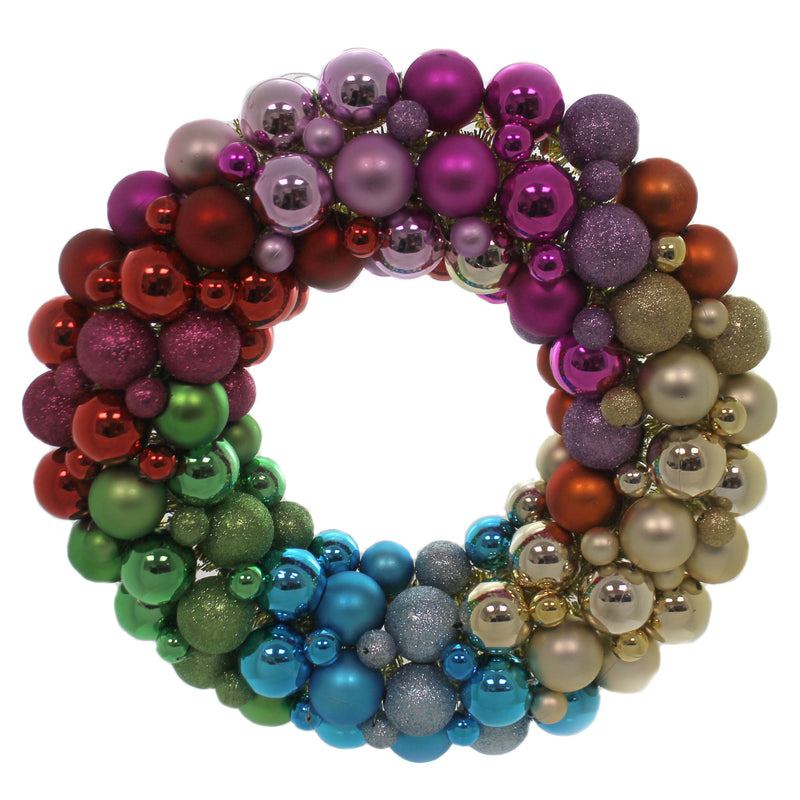 Christmas MULTI COLORED BALL ENCRUSTED WREATH Holiday Door Decoration Gl006r
