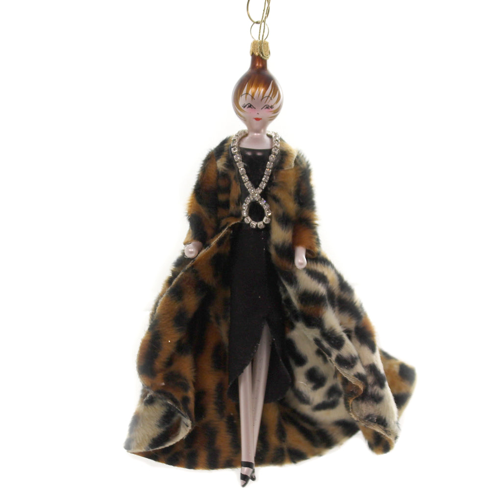 De Carlini LADY WITH LEOPARD COAT Glass Italian Christmas Do7570