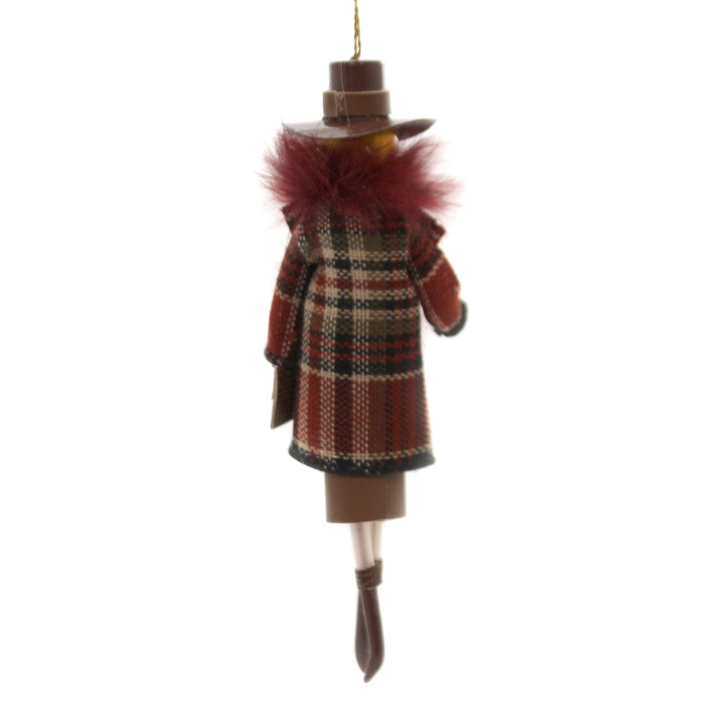 De Carlini LADY PLAID COAT FUR COLLAR Glass Italian Christmas Do7506