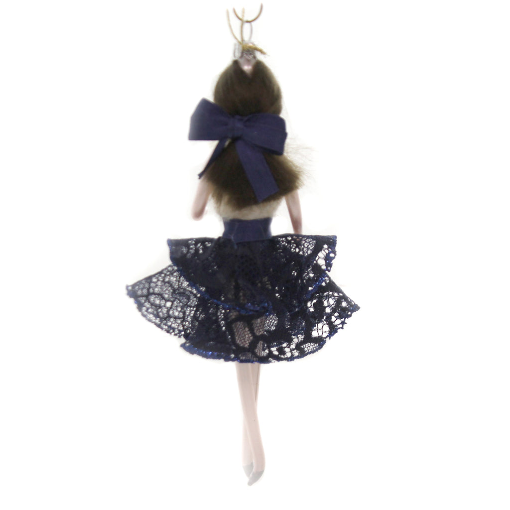 De Carlini LADY WITH BLUE TRIM SKIRT Glass Italian Christmas Do7559