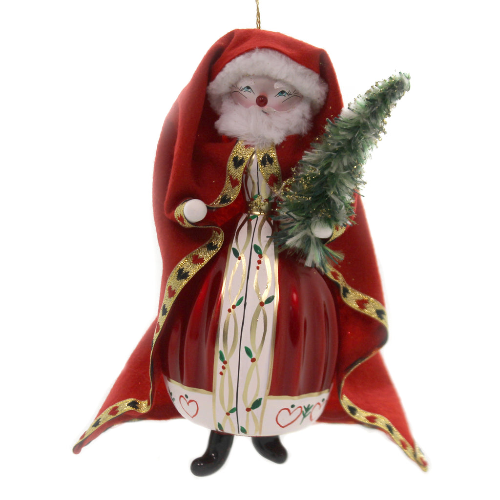 De Carlini SANTA HOLDING CHRISTMAS TREE Glass Italian Jolly St Nick Bn391