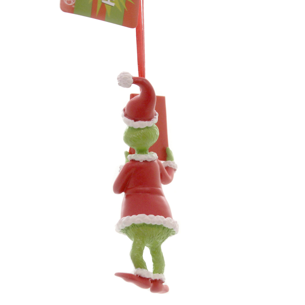 Christmas GRINCH w/ BOOK Polyresin Ornament Whoville Suess 6011002