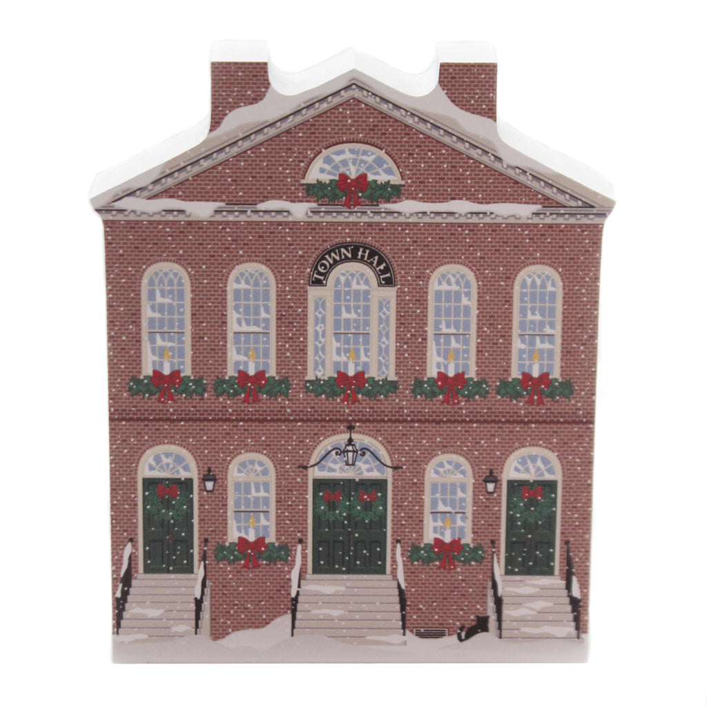 Cats Meow Village OLD TOWN HALL SALEM CHRISTMAS Wood Massachusetts 19531