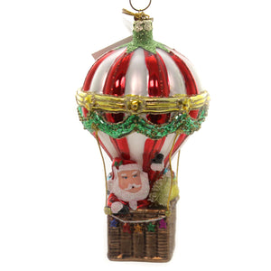 Noble Gems SANTA IN HOT AIR BALLOON Glass Christmas Ornament Nb1361