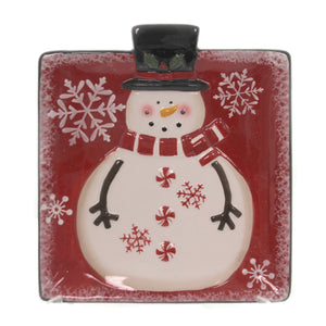Tabletop SNOWMAN SNACK PLATE Ceramic Christmas Holiday Entertaining 156218