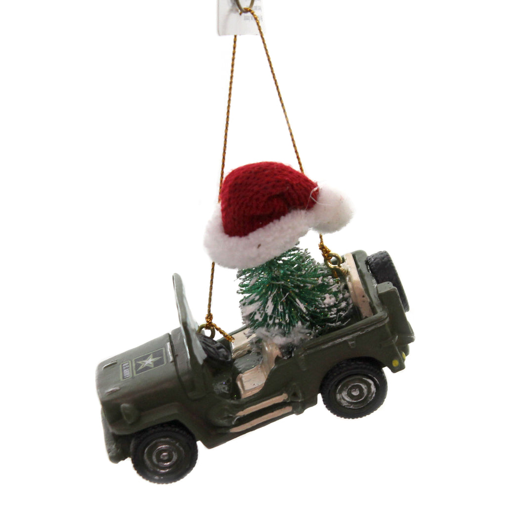 Holiday Ornaments ARMY JEEP w/ CHRISTMAS TREE Jeep Military Army Troops Am2192
