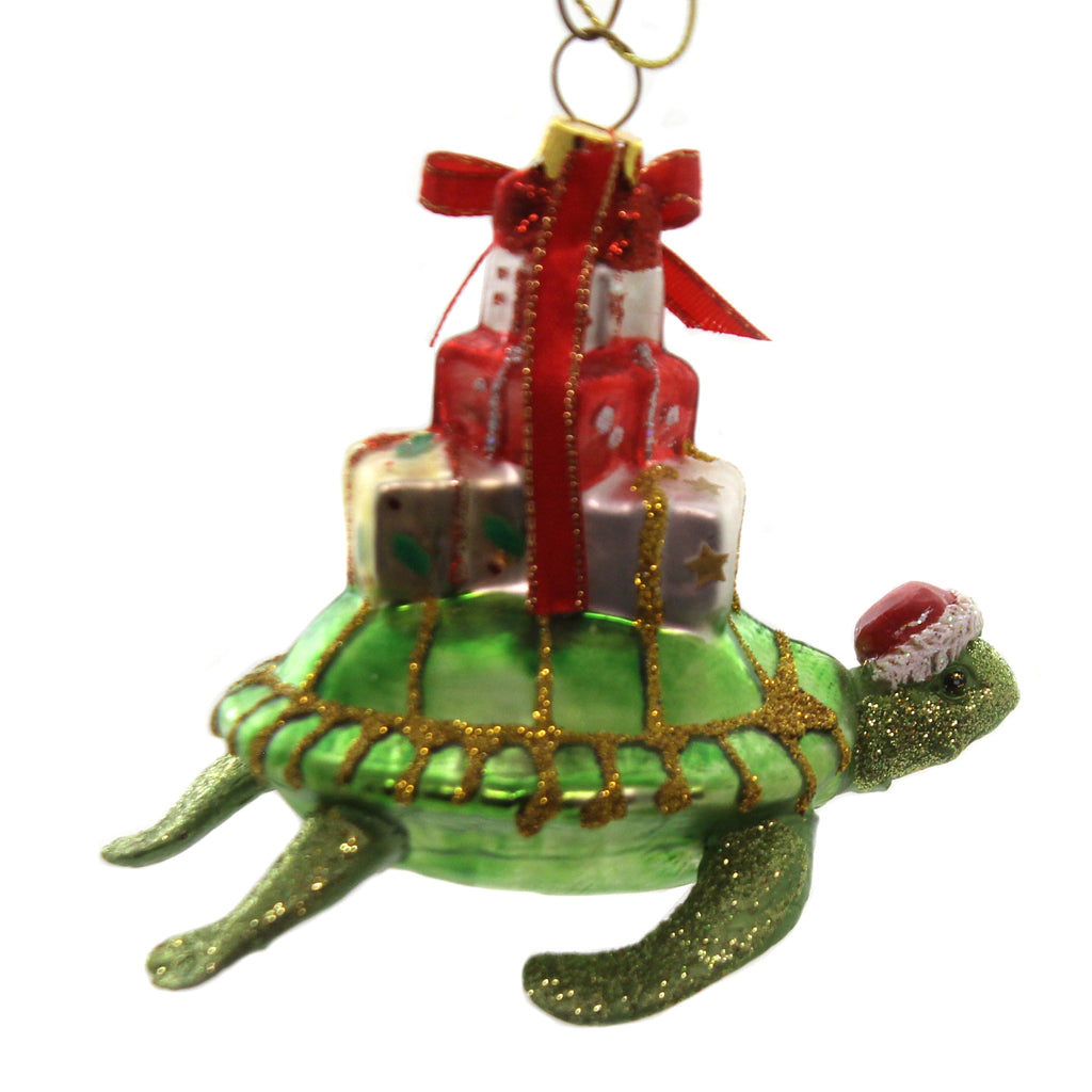 Holiday Ornaments TURTLE w/ GIFTS Polyresin Ocean Sea Beach Christmas To186
