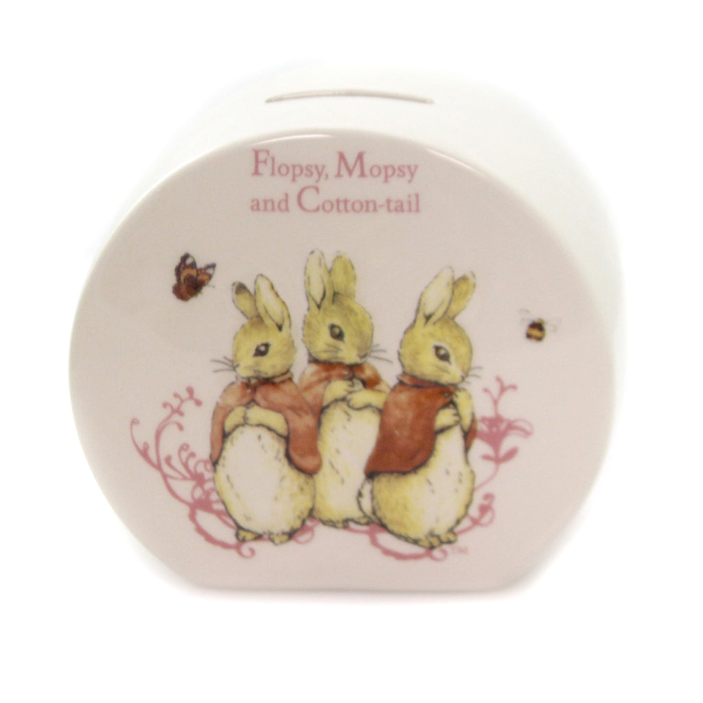 FLOPSY MOPSY & COTTONTAIL BANK Ceramic Money Saving Rabbit Bunny Cents A26696
