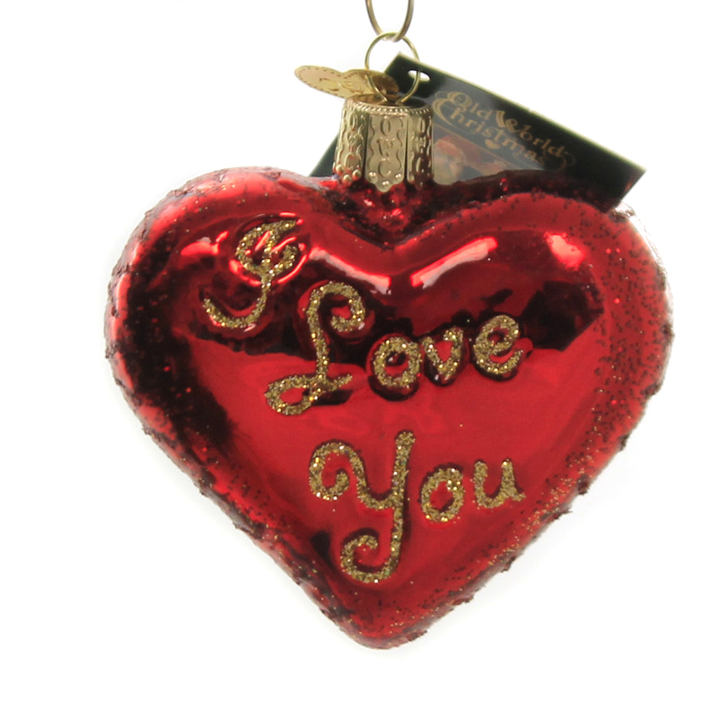 Old World Christmas I LOVE YOU HEART Glass Ornament Valentines Red 30021
