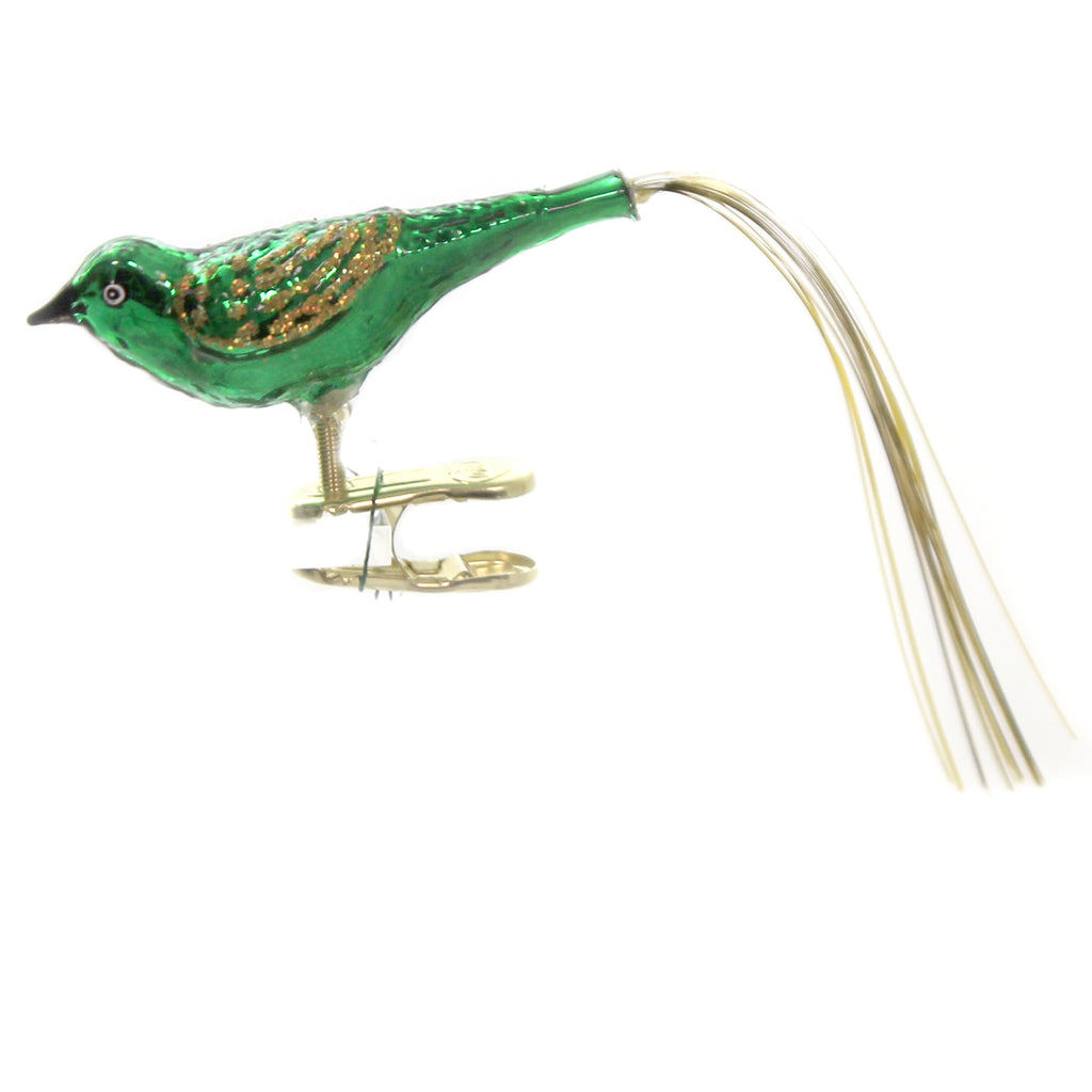 Old World Christmas LOVEBIRD Glass Clip-On Ornament Sring Easter 18024 Green