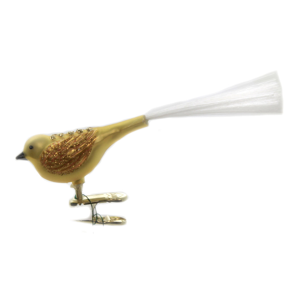 Old World Christmas FAT GLITTER BIRD Glass Clip-On Ornament Spring 18004 Yellow