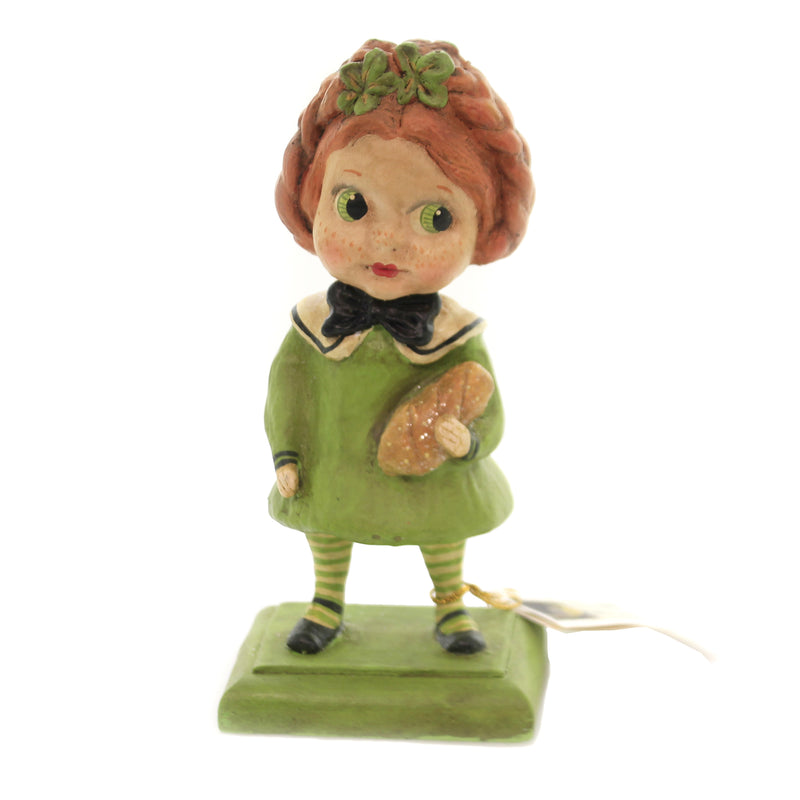 St Patty Girl With Bread Hh6936 Saint Patricks Figurines - SBKGIFTS.COM - SBK Gifts Christmas Shop Cincinnati - Story Book Kids