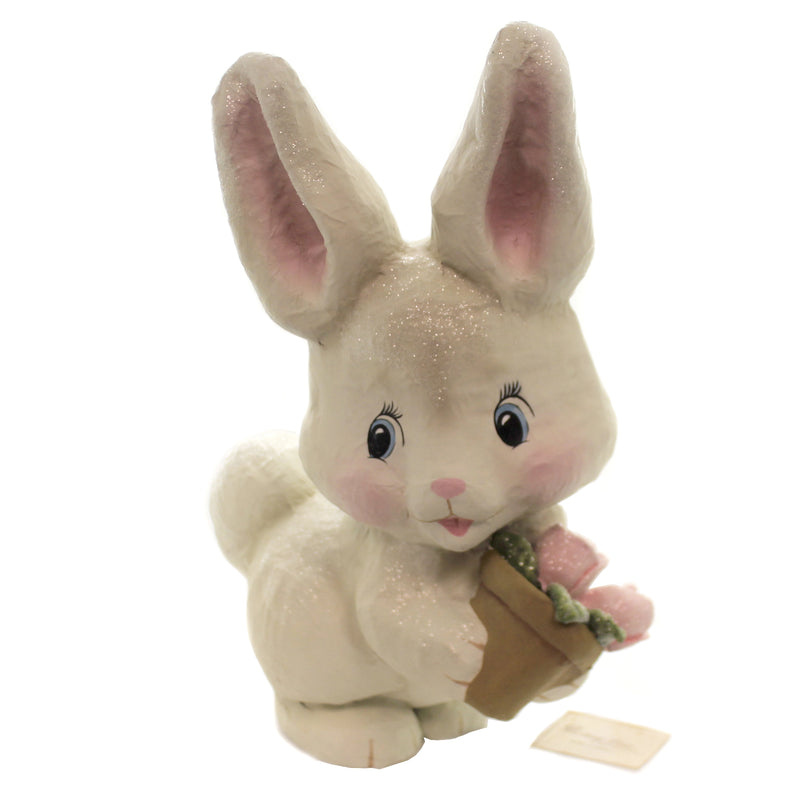 White Bunny Holding Flower Pot Tj9497 Easter Flameless Candles - SBKGIFTS.COM - SBK Gifts Christmas Shop Cincinnati - Story Book Kids