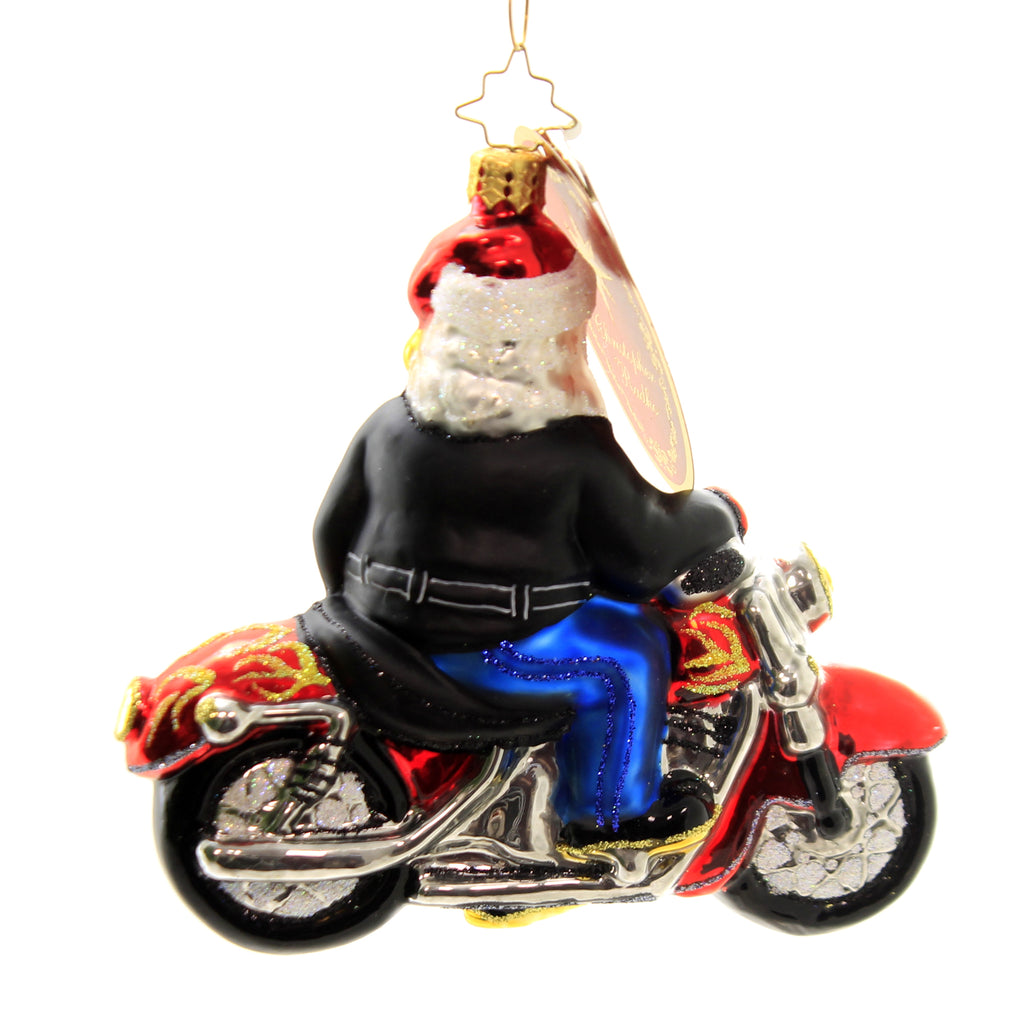 Christopher Radko BORN TO BE A BIKER Glass Motorcycle Santa Christmas 1017459