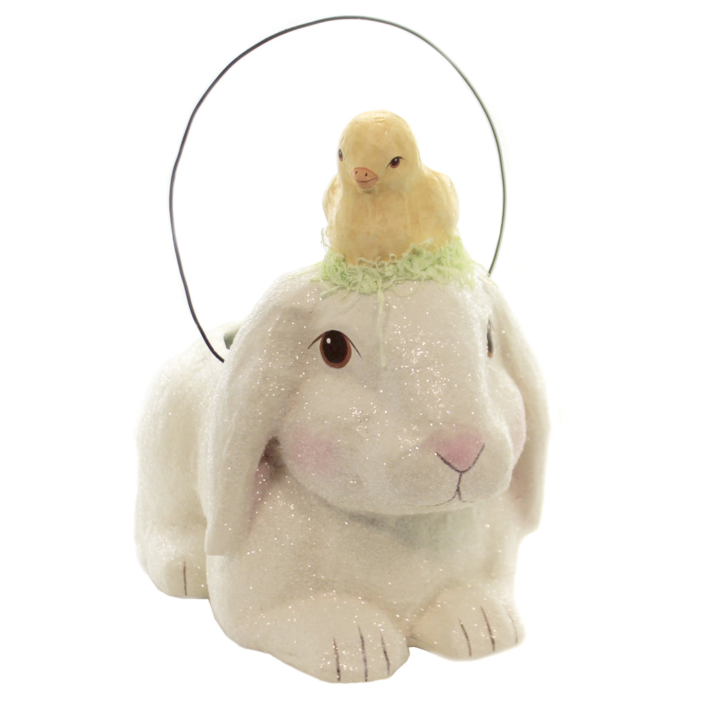 Easter BUNNY W/LITTLE CHICK BUCKET Paper Basket Holiday Tj9490