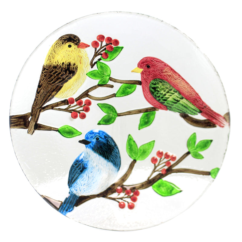 Tabletop GLASS MULTI BIRD ROUND PLATTER Glass Red Blue Yellow Berries Ea14101