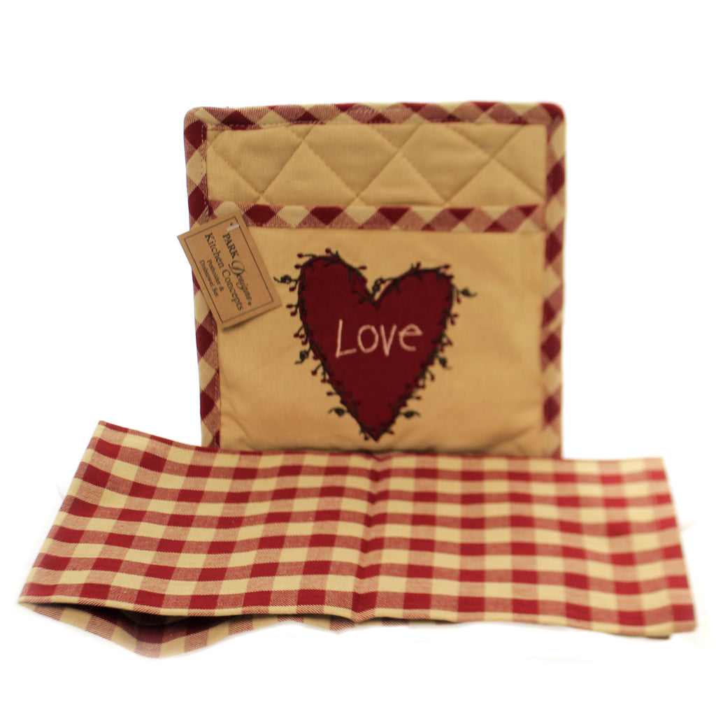Heart & Vine Potholder & Towel 03761 Tabletop Trivets And Pot Holders - SBKGIFTS.COM - SBK Gifts Christmas Shop Cincinnati - Story Book Kids