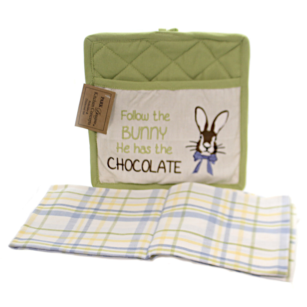 Follow The Bunny Towel Set 04961 Tabletop Trivets And Pot Holders - SBKGIFTS.COM - SBK Gifts Christmas Shop Cincinnati - Story Book Kids