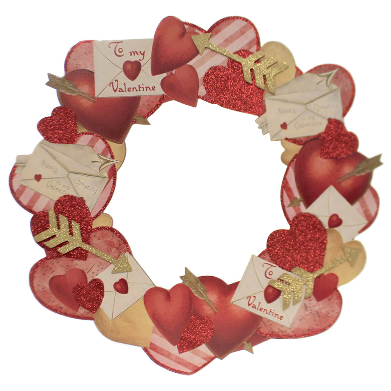 Valentine's Day VALENTINE DUMMY BOARD WREATH Wood Retro Look Rl9785