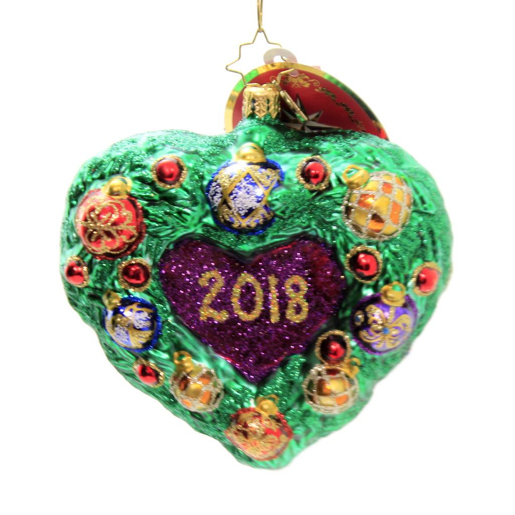 Christopher Radko EVERGREEN IS MY HEART Glass Ornament Dated 2018  1St 1019519