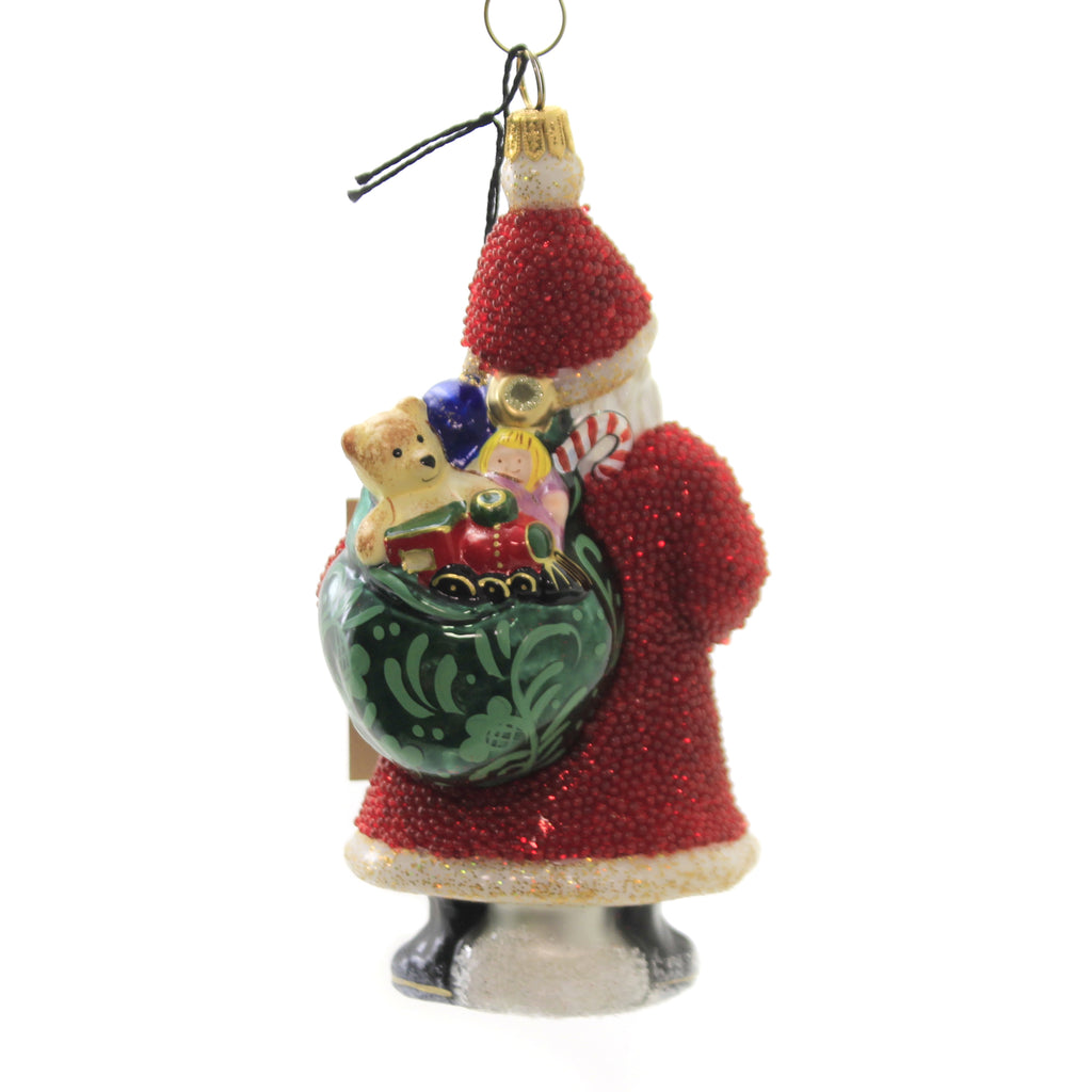 Galician Santa With Presents Zkp4036rb Joy To The World Glass Ornaments - SBKGIFTS.COM - SBK Gifts Christmas Shop Cincinnati - Story Book Kids