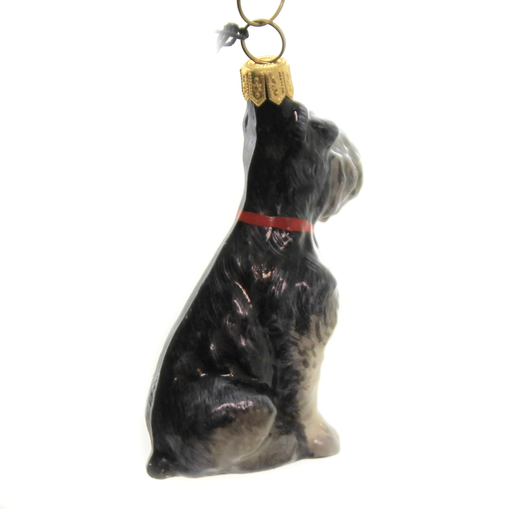 Gray Schnauzer Zkp1719 Joy To The World Glass Ornaments - SBKGIFTS.COM - SBK Gifts Christmas Shop Cincinnati - Story Book Kids
