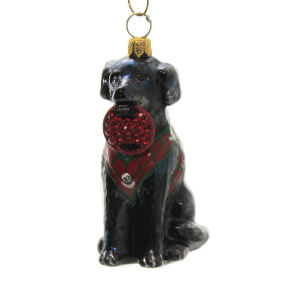 Black Lab In Vest Zkp4609blf Joy To The World Glass Ornaments - SBKGIFTS.COM - SBK Gifts Christmas Shop Cincinnati - Story Book Kids
