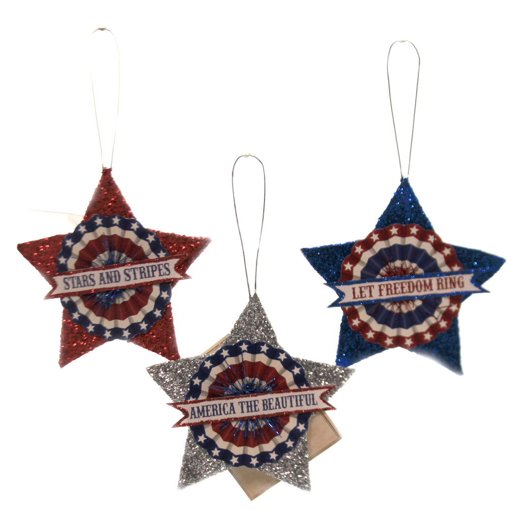 American Glitter Star Ornament Tf9109 Patriotic Ornament Sets - SBKGIFTS.COM - SBK Gifts Christmas Shop Cincinnati - Story Book Kids