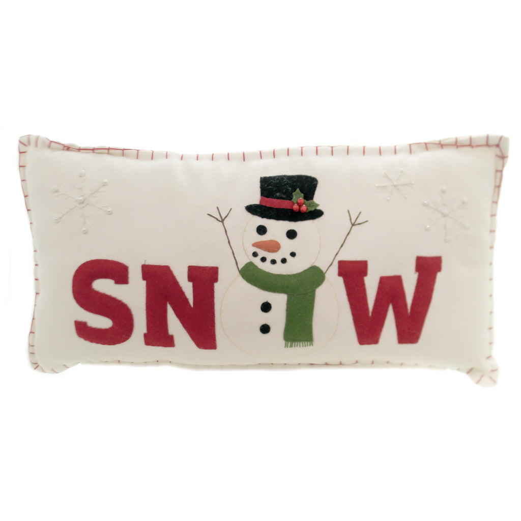 Snow Applique Pillow Rl8280 Christmas Decorative Pillows - SBKGIFTS.COM - SBK Gifts Christmas Shop Cincinnati - Story Book Kids