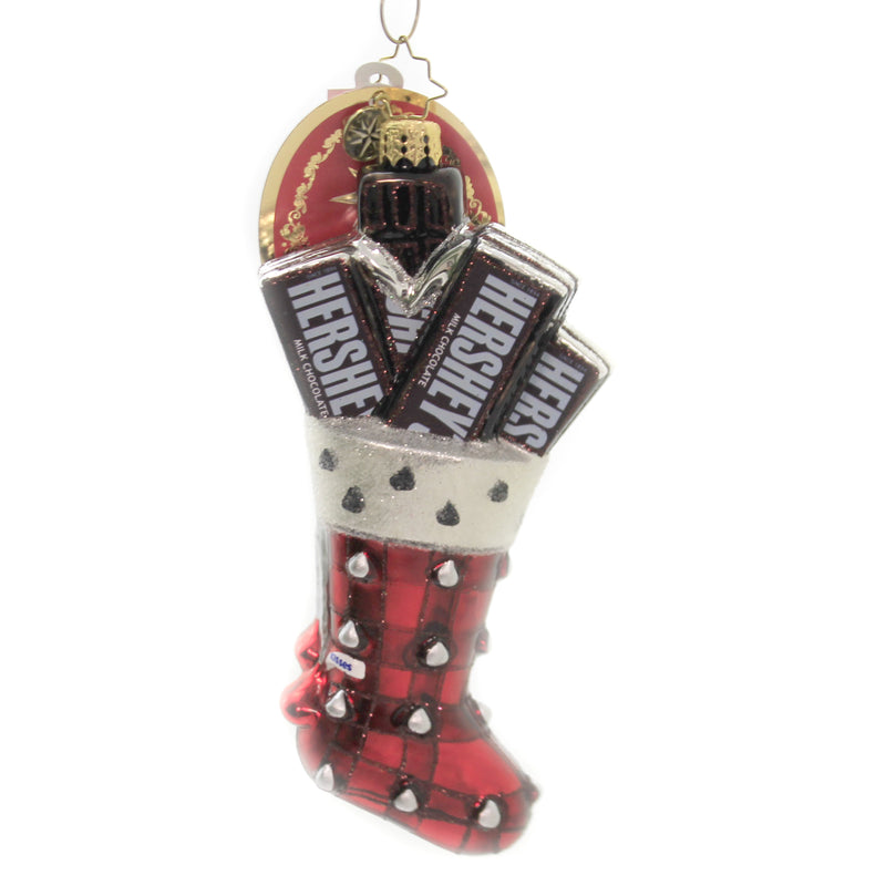 Hershey Kisses Stocking 1020075 Glass Ornaments - SBKGIFTS.COM - SBK Gifts Christmas Shop Cincinnati - Story Book Kids