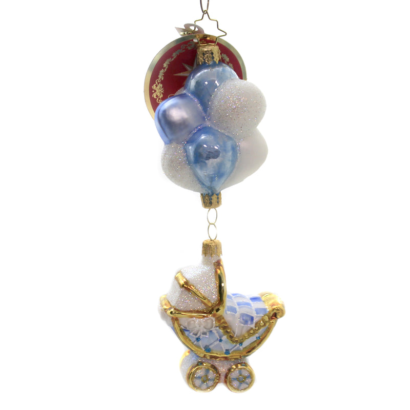 Baby Boy Buggy & Balloons 1020335 Glass Ornaments - SBKGIFTS.COM - SBK Gifts Christmas Shop Cincinnati - Story Book Kids