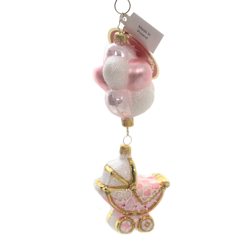 Baby Girl Buggy & Balloons 1020336 Glass Ornaments - SBKGIFTS.COM - SBK Gifts Christmas Shop Cincinnati - Story Book Kids
