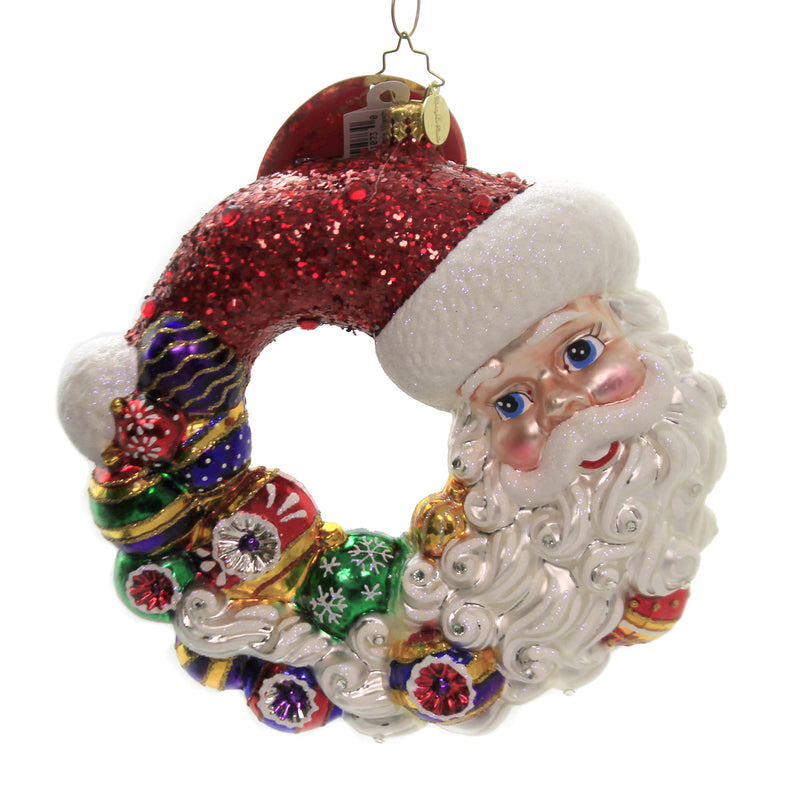 Santa Comes Full Circle Wreath 1020298 Glass Ornaments - SBKGIFTS.COM - SBK Gifts Christmas Shop Cincinnati - Story Book Kids