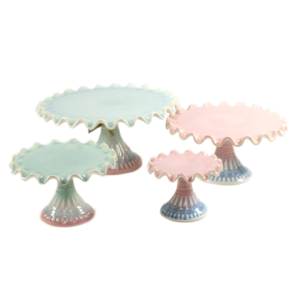 Pastel Ruffled Cake Stands Hy0200 Tabletop Other Decorative Serveware And Kitchen Accessories - SBKGIFTS.COM - SBK Gifts Christmas Shop Cincinnati - Story Book Kids