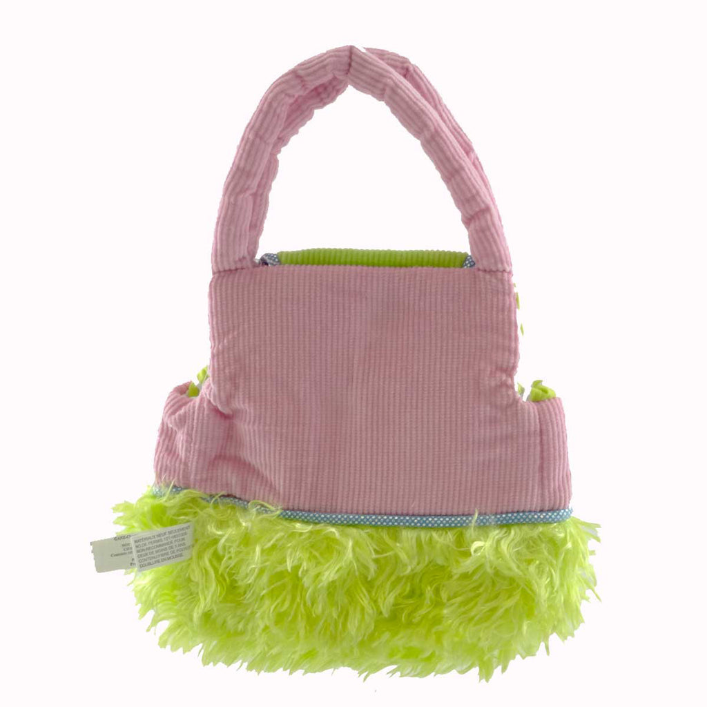 Plush Carrier Purse Green Handbag / Tote